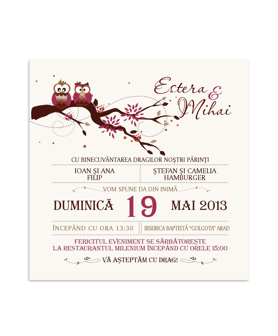 Invitatie de nunta Lovely Owl