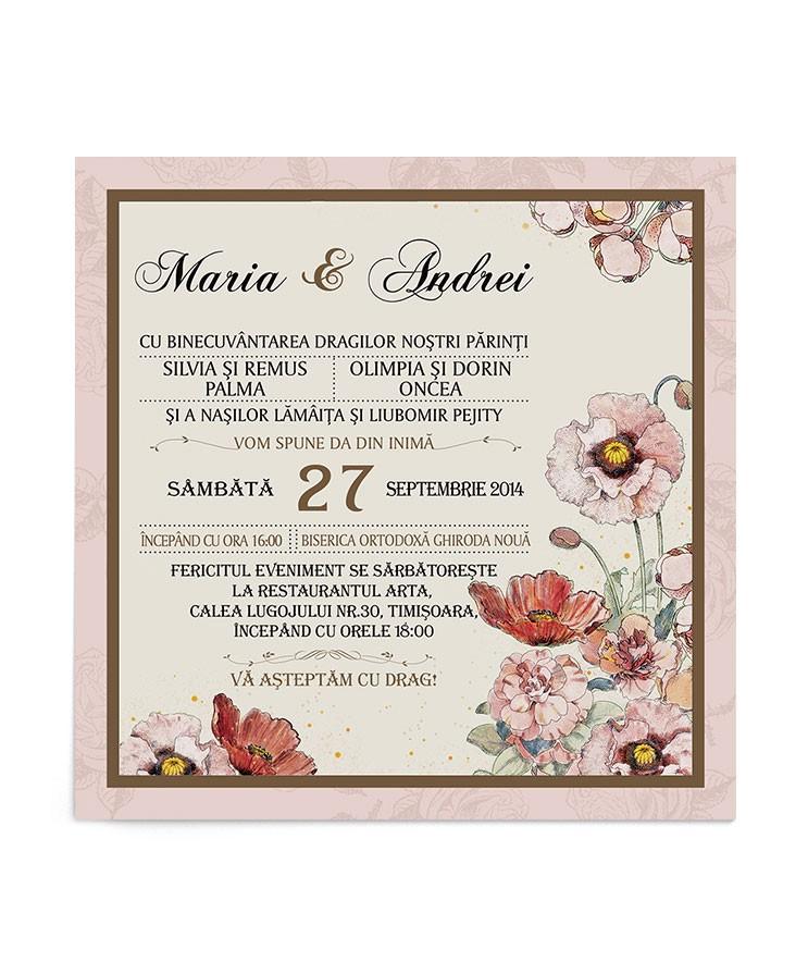 Invitatie de nunta Blooming Poppy