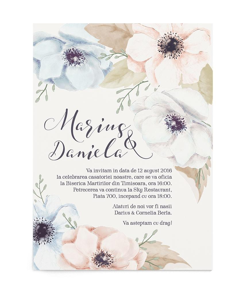 Invitatie de nunta Anemones Crayon