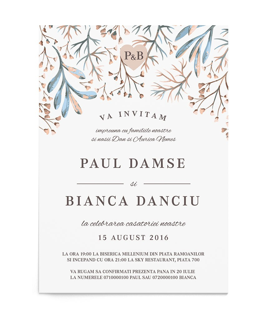 Invitatie de nunta Serene Fall