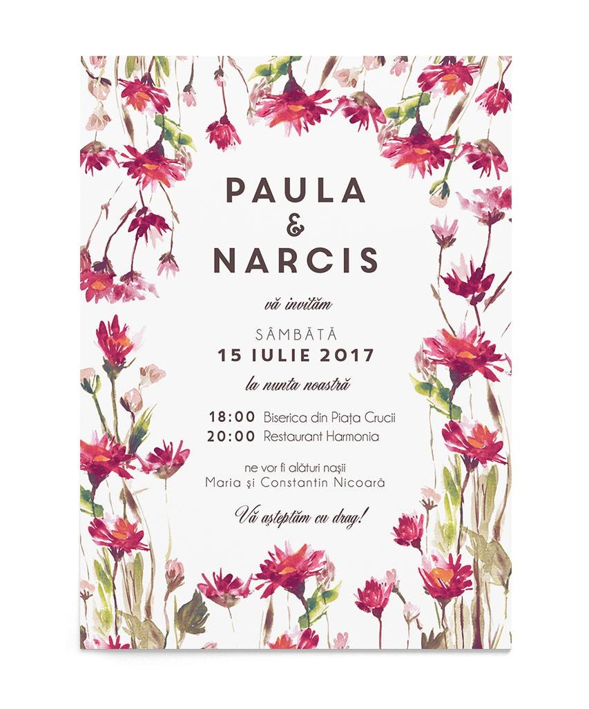 Invitatie de nunta Flowery Field