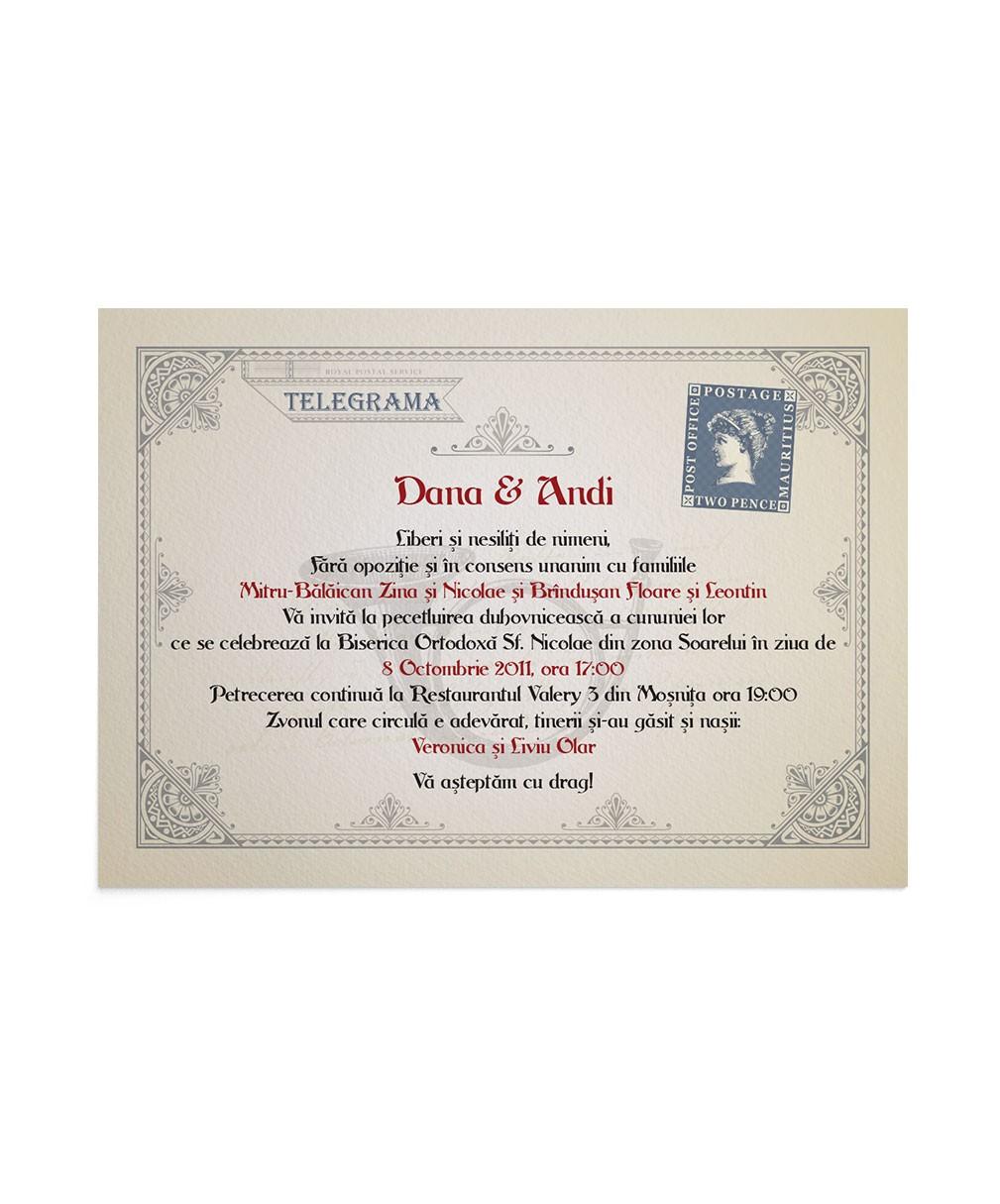 Invitatie de nunta Love Telegram