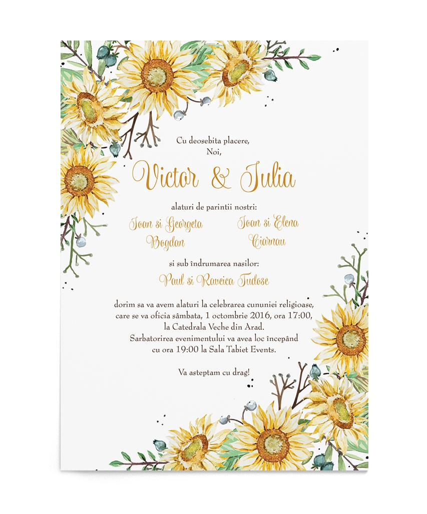 Invitatie de nunta Wrapped in Sunflowers