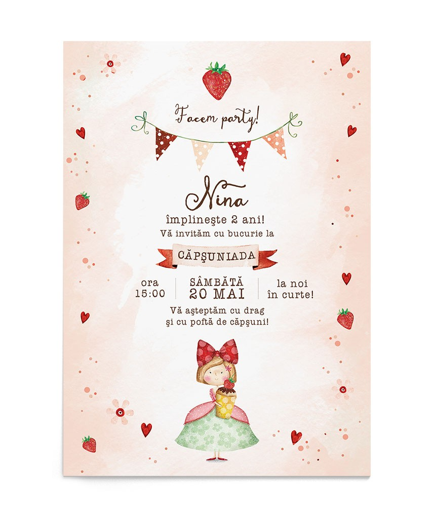 Invitatie zi de nastere Strawberry Darling
