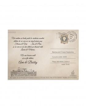 Invitatie de nunta Postcard City