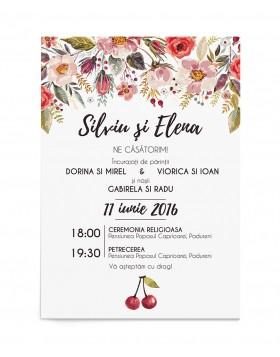 Invitatiede nunta Cherry Flowers