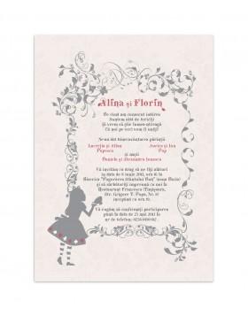 Invitatie de nunta Alice in Wonderland