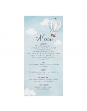Meniu card Hot Air Balloon