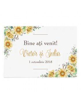 Panou Bun Venit Wrapped in Sunflowers