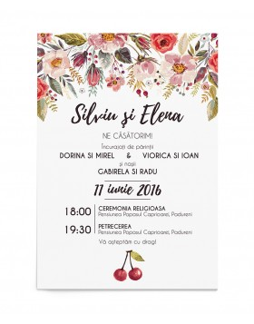 Invitatie Cherry Flowers