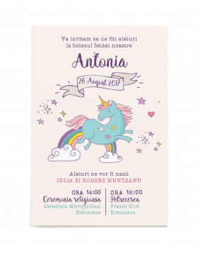 Invitatie de botez Happy Unicorn