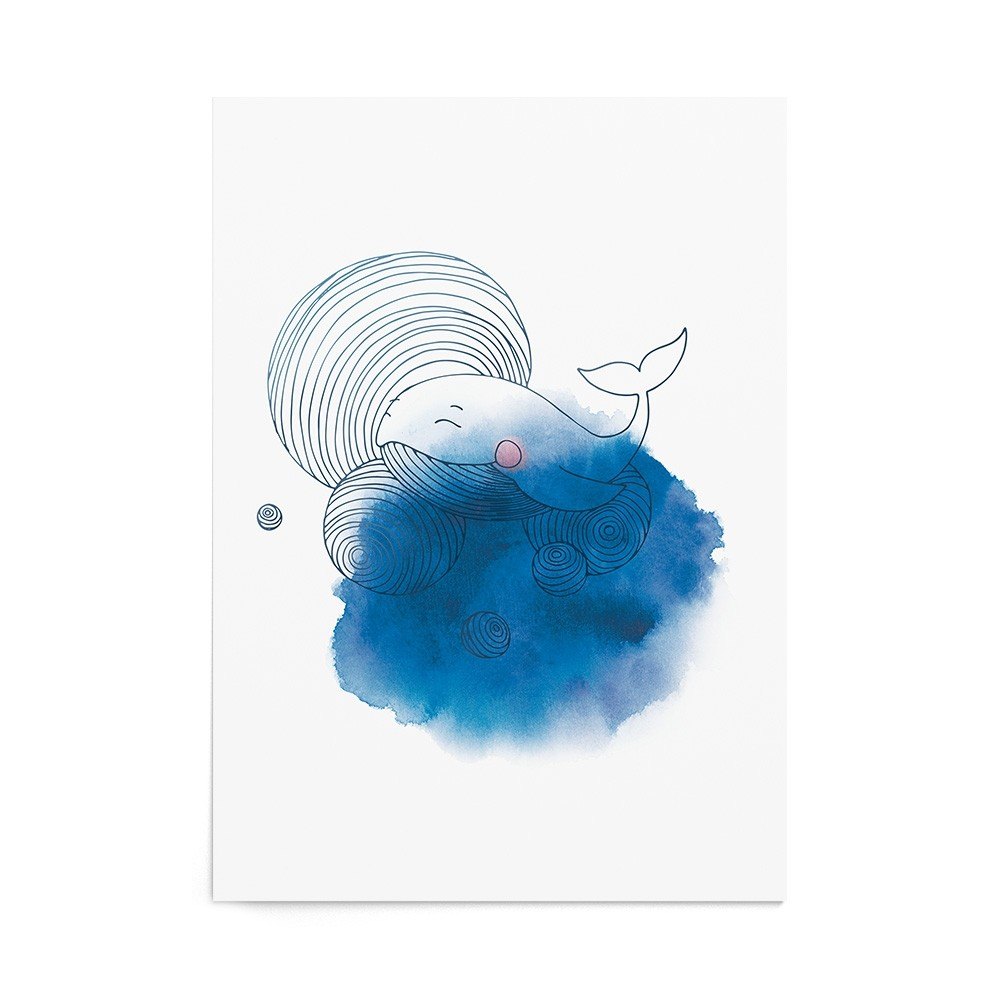 Poster Art Print Cheerful Whale
