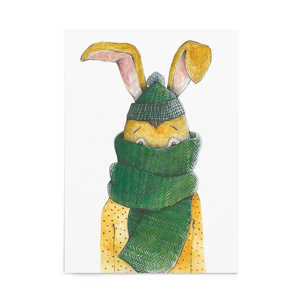 Poster Art Print Christmas Rabbit