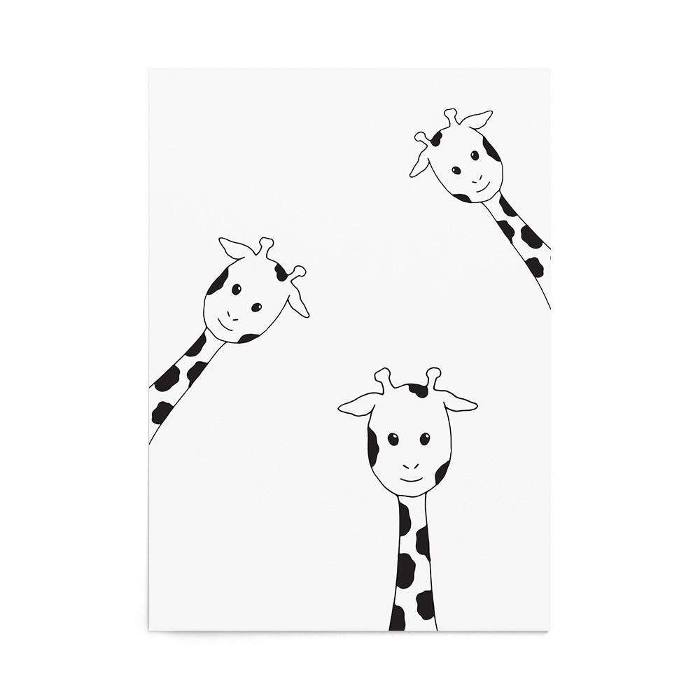 Art Print Peeking Giraffes
