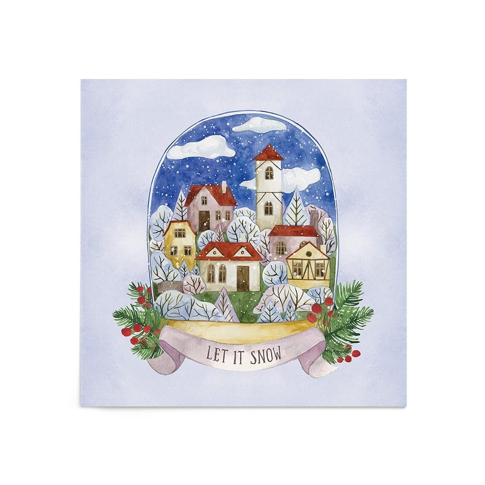Poster Art Print Snowy Village