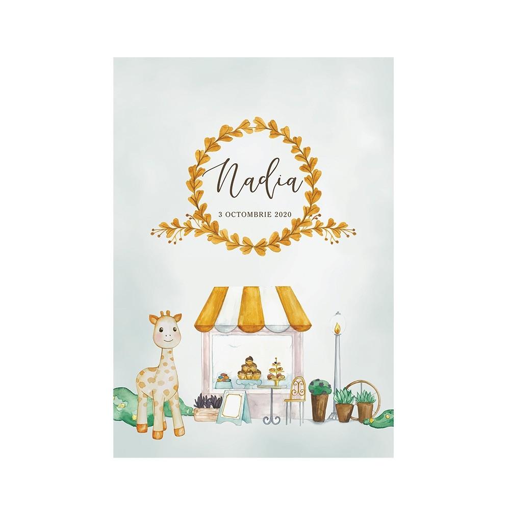 Poster Art Print Sweet Giraffe Wreath