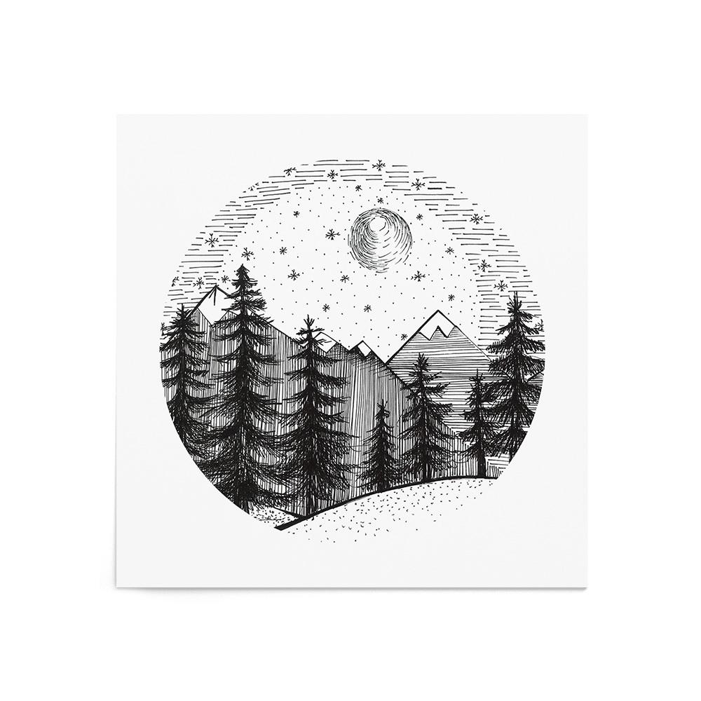 Poster Art Print Winter Forest