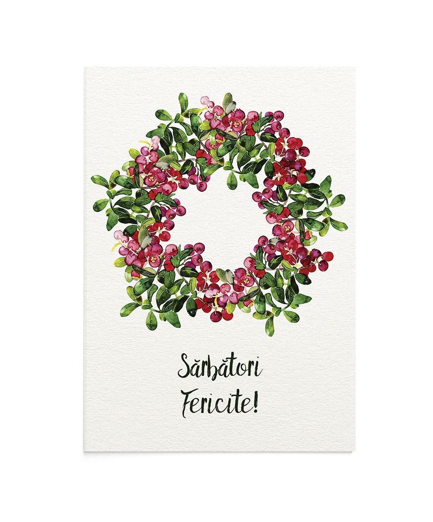 Felicitare Cheerful Wreath