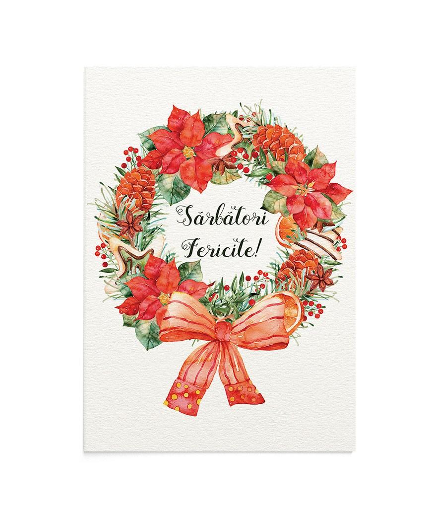 Felicitare Christmas Wreath