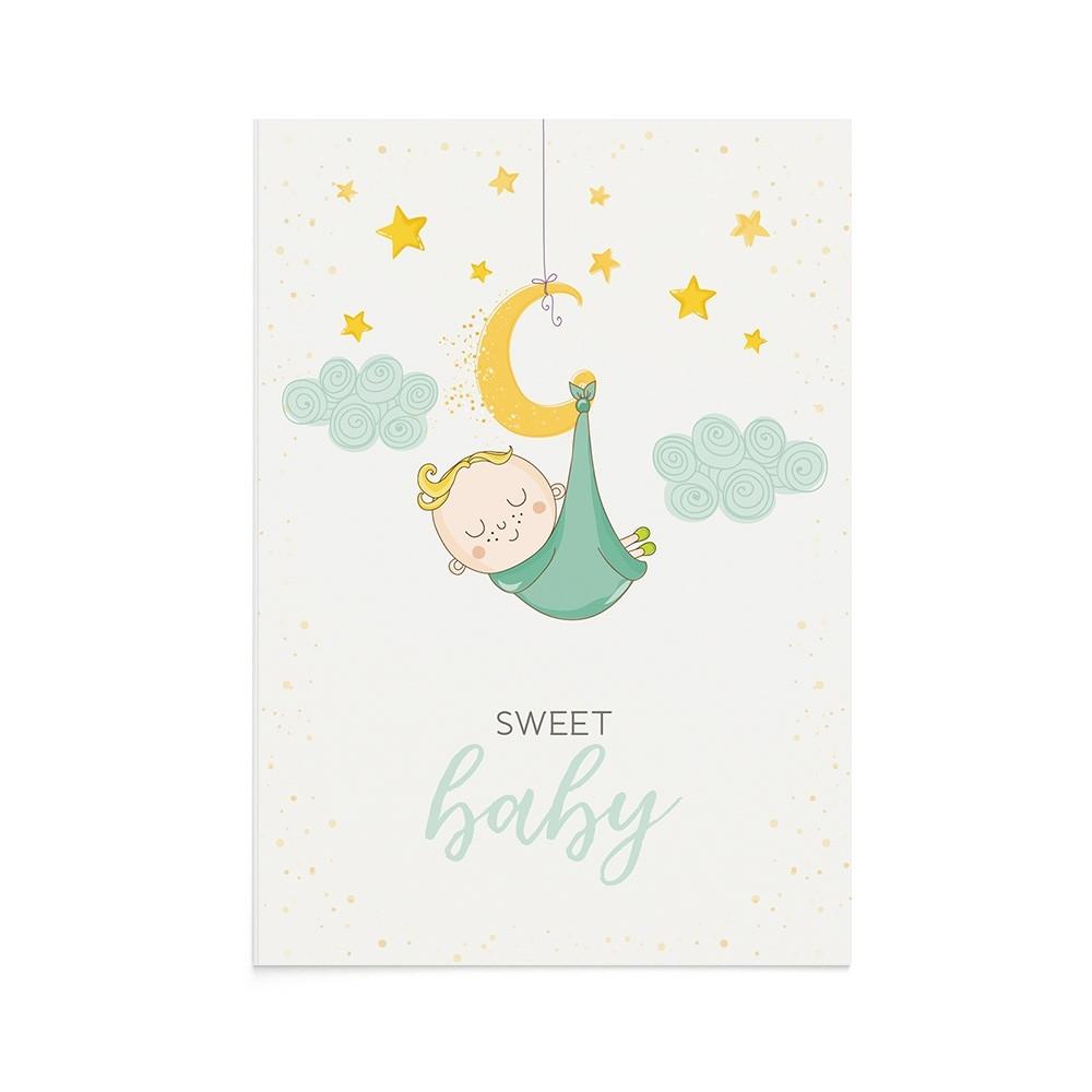 Felicitare Bebe Sleeping Baby Boy