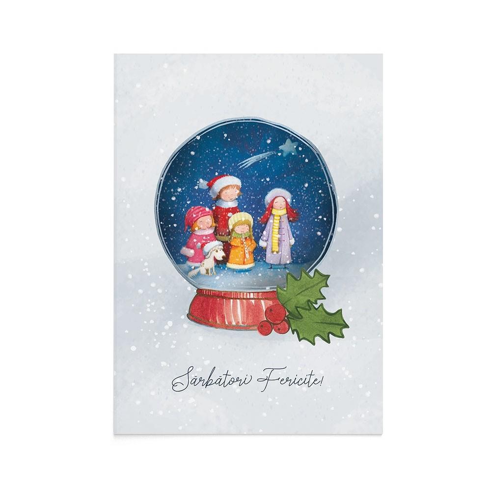 Felicitare Craciun Christmas Carols Globe