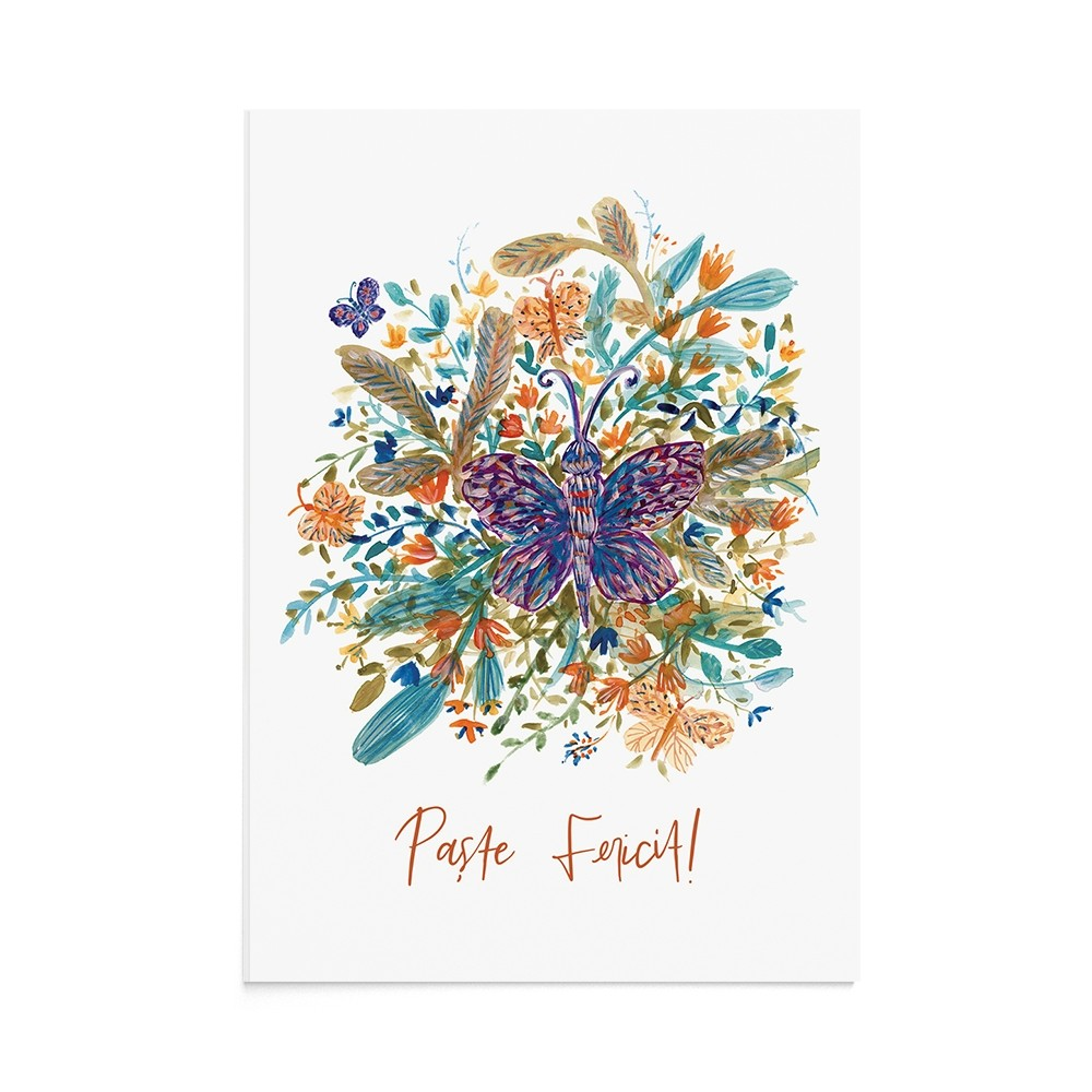 Felicitare Paste Easter Butterfly Foliage