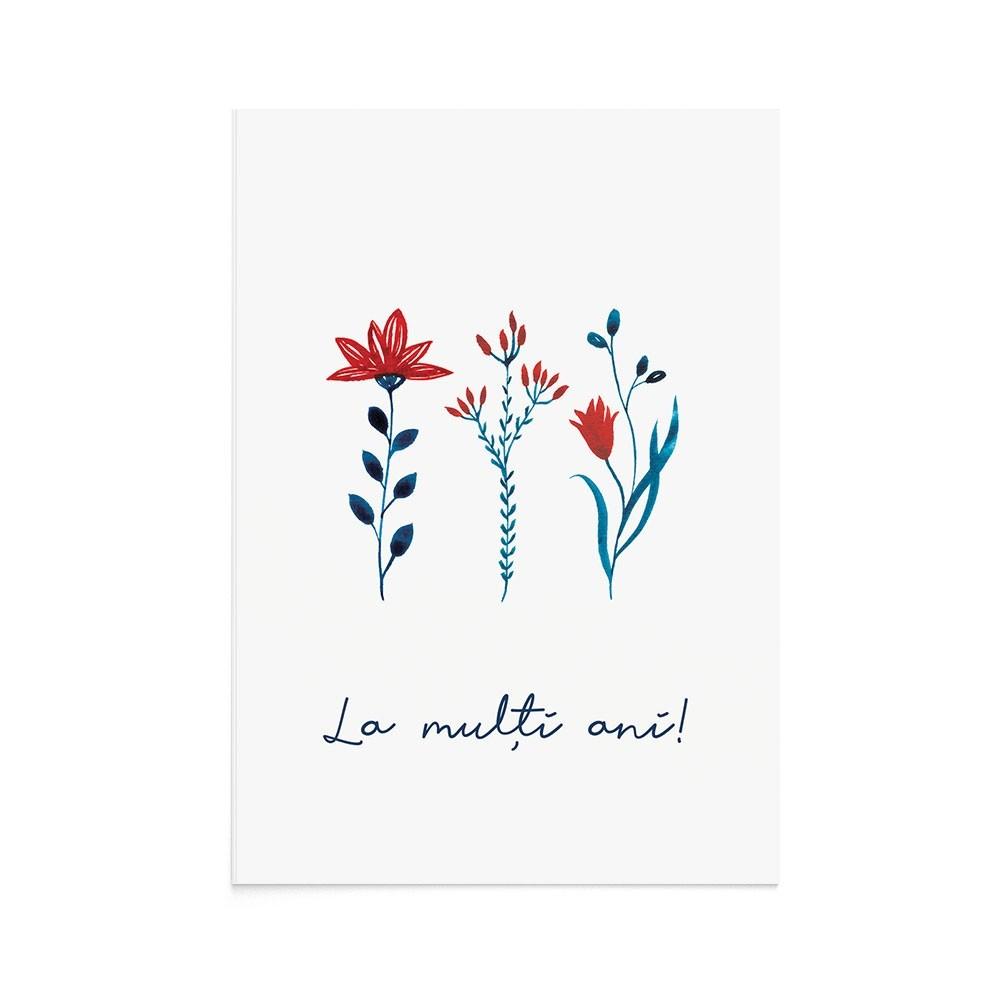 Felicitare La Multi Ani Folk Flora