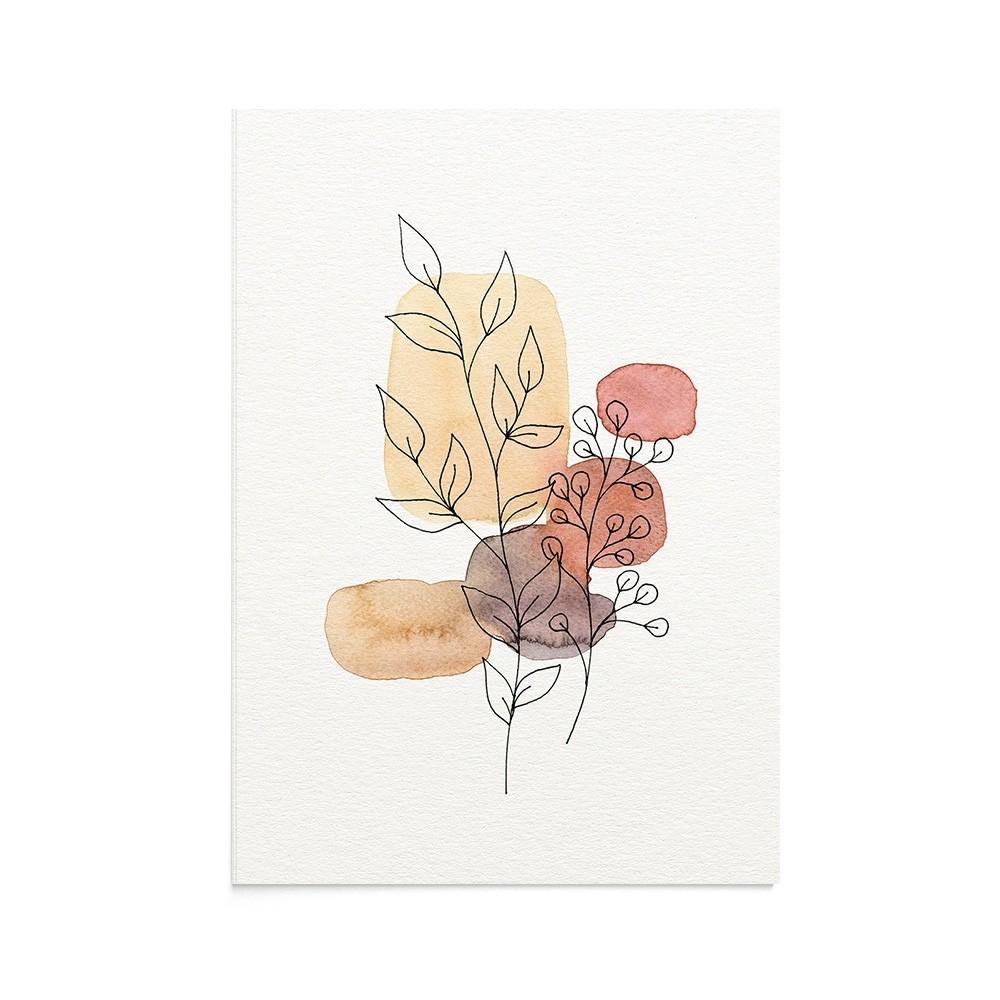 Felicitare Line Art Terracotta Flowers