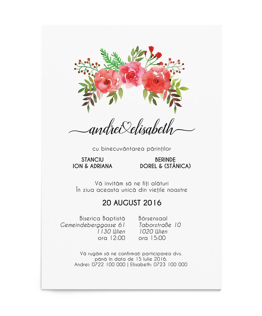 Invitatie digitala Flowery Crest