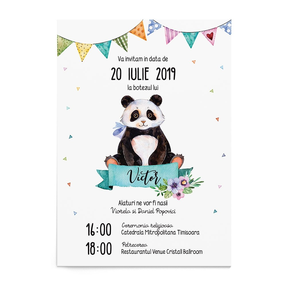 Invitatie digitala Panda Darling
