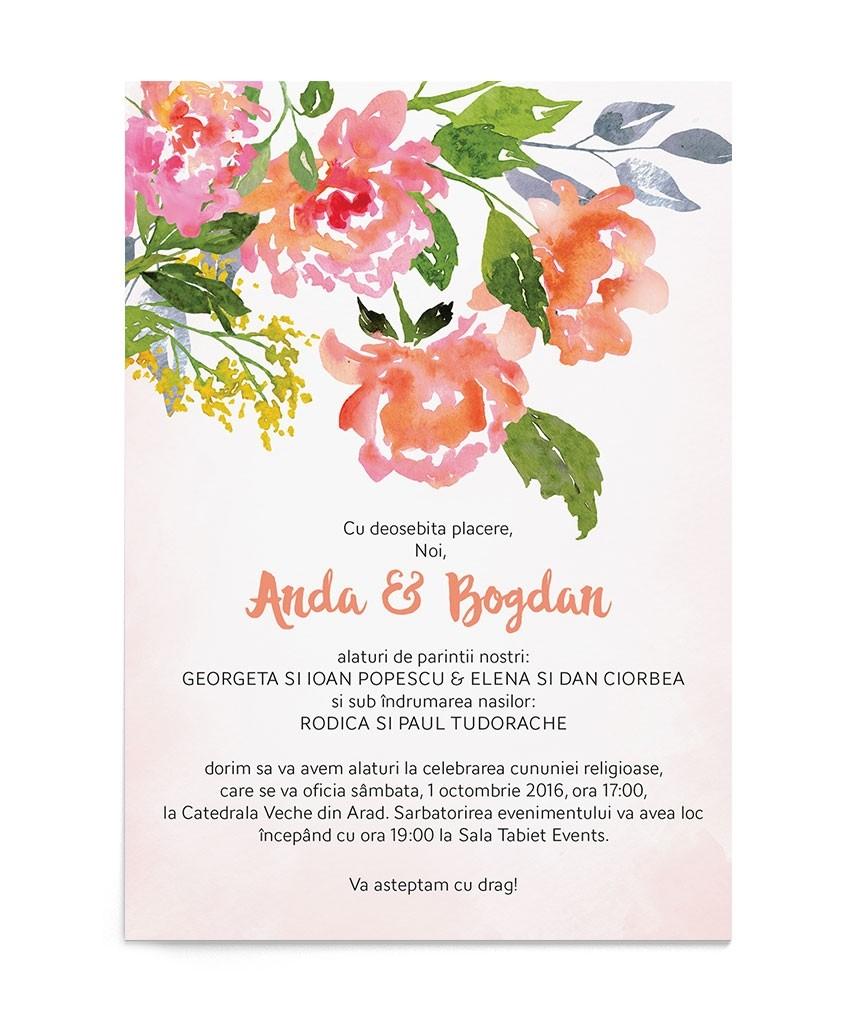 Invitatie digitala Watercolor Rose