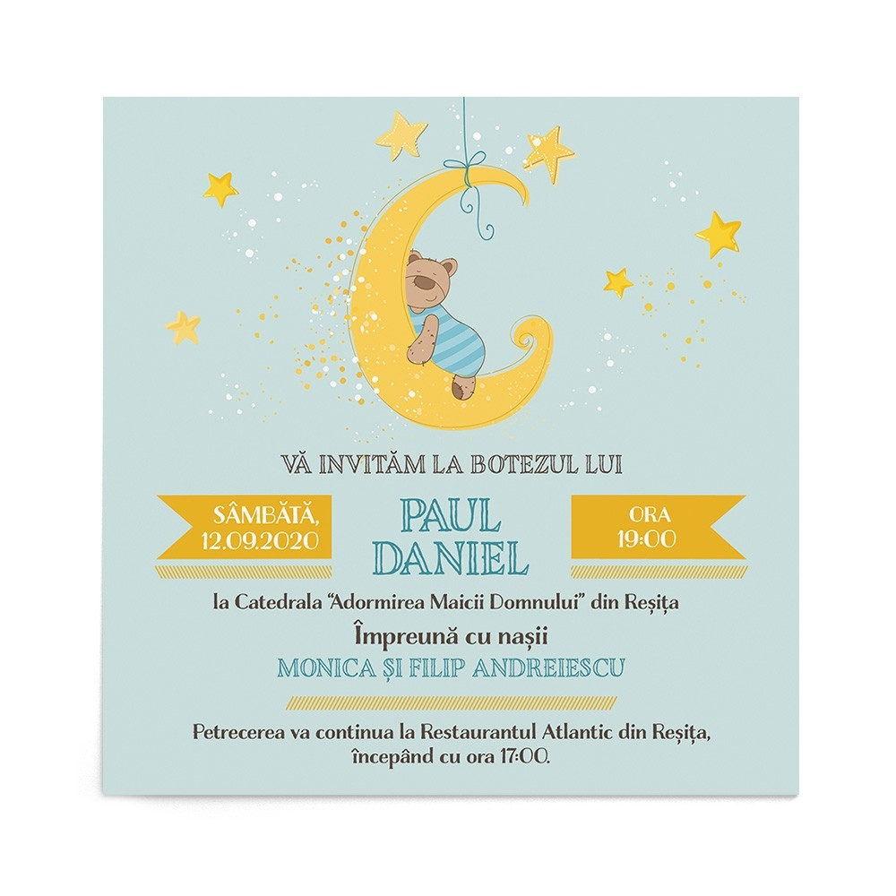 Invitatie de botez Dreamy Bear