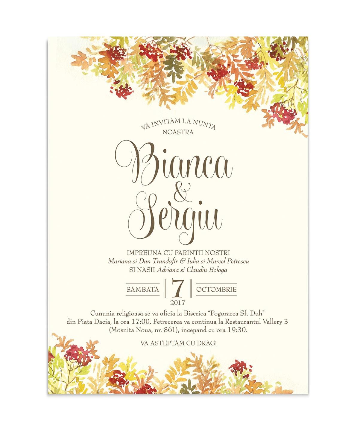 Invitatie de nunta Autumn Leaves