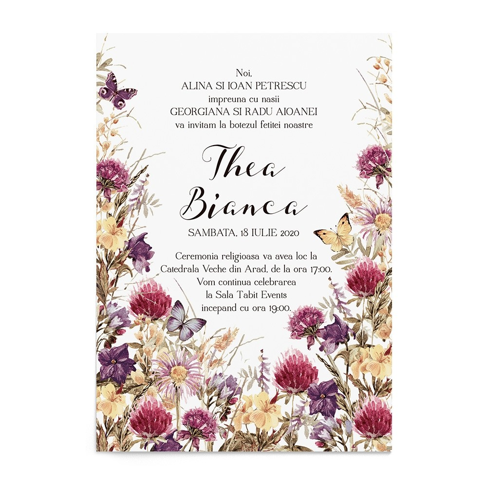 Invitatie de botez Flower Meadow