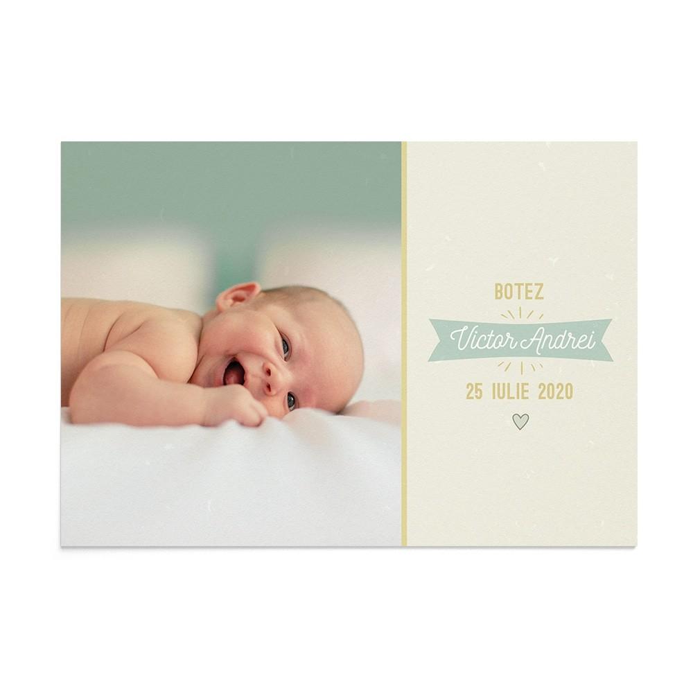 Invitatie de botez Funky Postcard