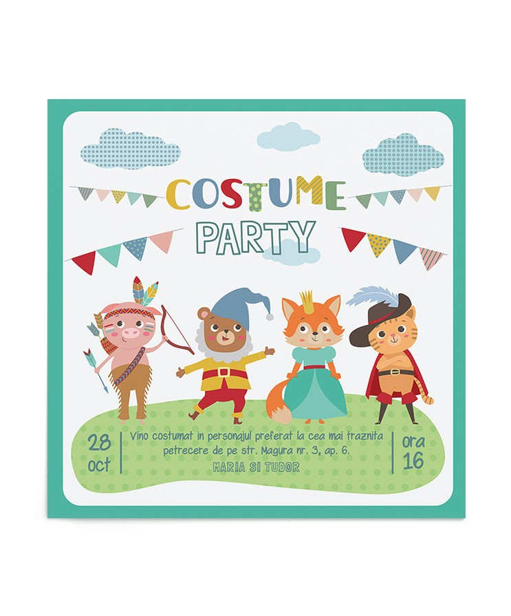 Invitatie petrecere Costume Party