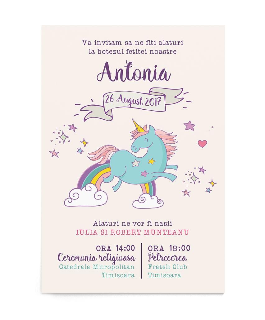Invitatie de botez Happy Unicorn