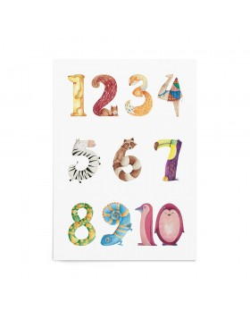 Poster Cifre Animal Numbers