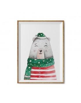 Poster Art Print Christmas Bear