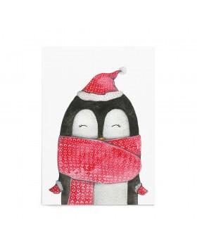 Poster Art Print Christmas Penguin