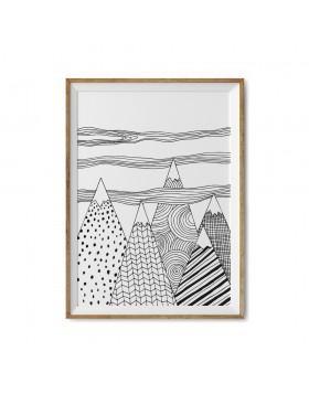 Poster Art Print Cloudy Mountains