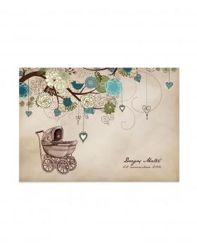 Invitatie de botez Baby Vintage Branch