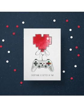 Felicitare Valentine's Player Heart