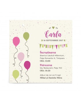 Invitatie de botez Balloon Party
