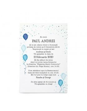 Invitatie Botez Balloons Sprinkle