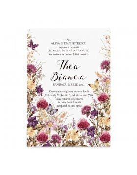 Invitatie de botez Flower Meadow