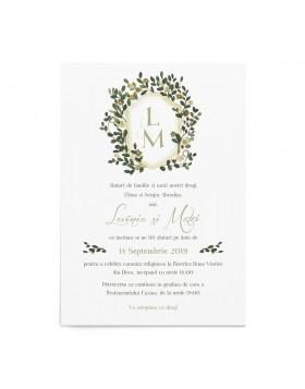 Invitatie de nunta Natural Monogram