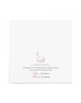 Invitatie de botez Regal Swan Card