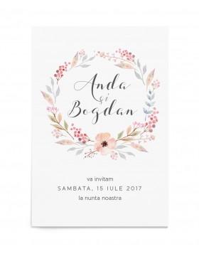 Invitatie de nunta Bohemian Crown