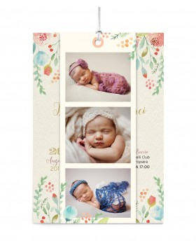 Invitatie de botez Sprinkle Flowers Photo Strip